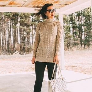 Sweaters - Chunky Cable Knit Turtleneck